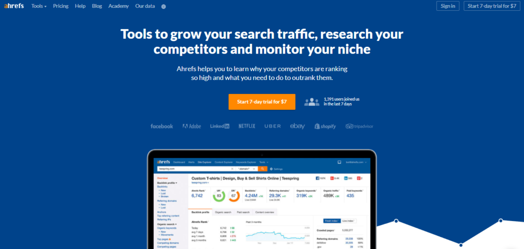 ahref-competitor analysis tool