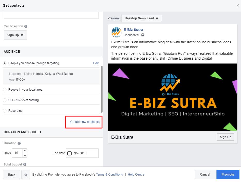 create audience facebook