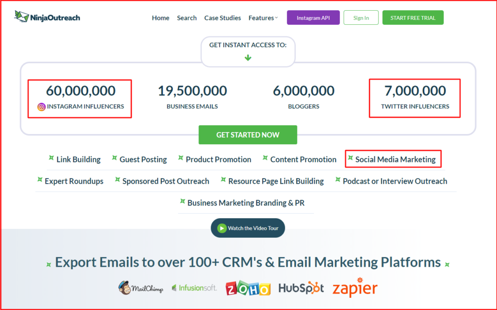 ninja outreach social media marketing tool