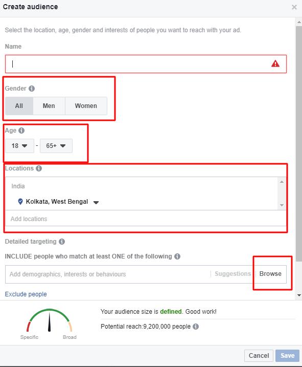setup audience for facebook ads