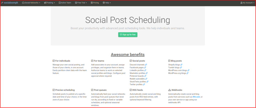 socialoomph post scheduling