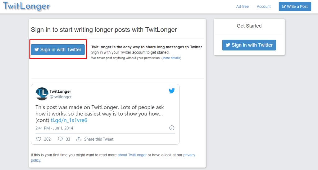Twitlonger homepage
