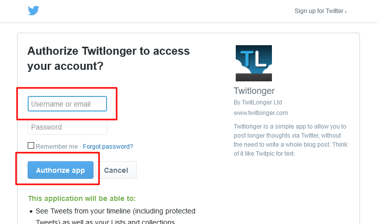 Twitlonger login page