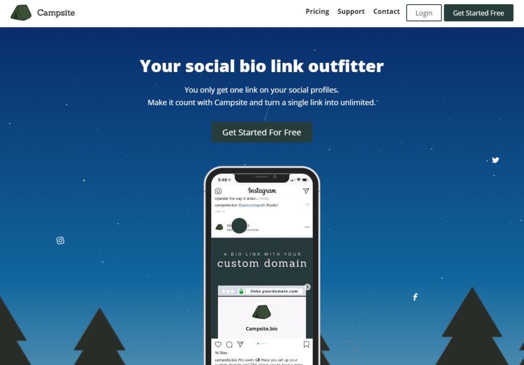 Campsite instagram link in bio tools