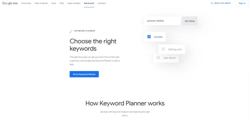 Google Keyword Planner tool for dropshipping