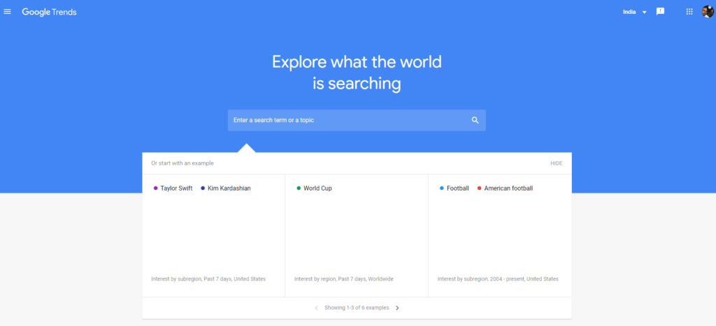 Google Trends product trend tool