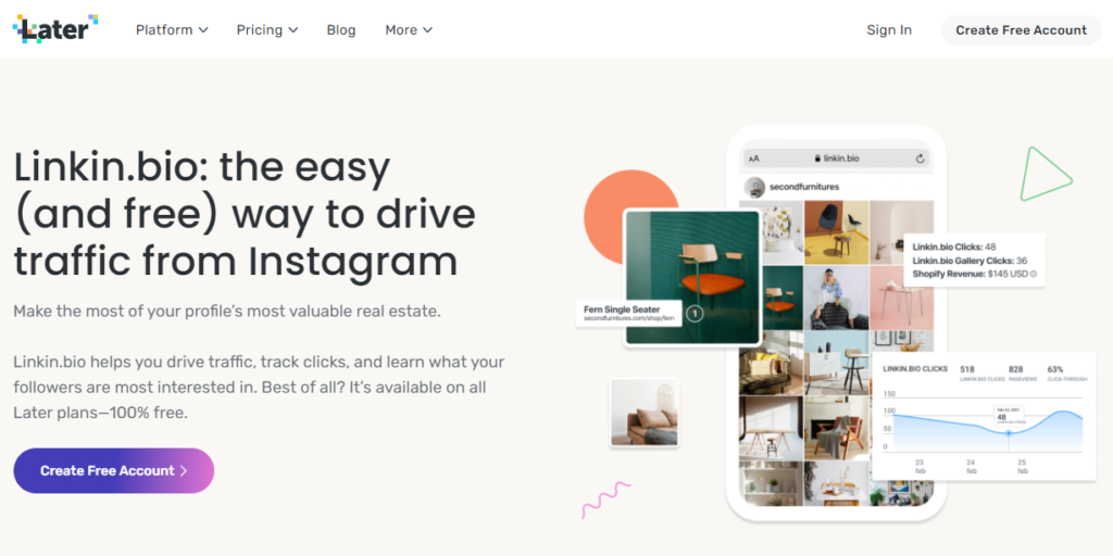 Linkinbio by later instagram tool