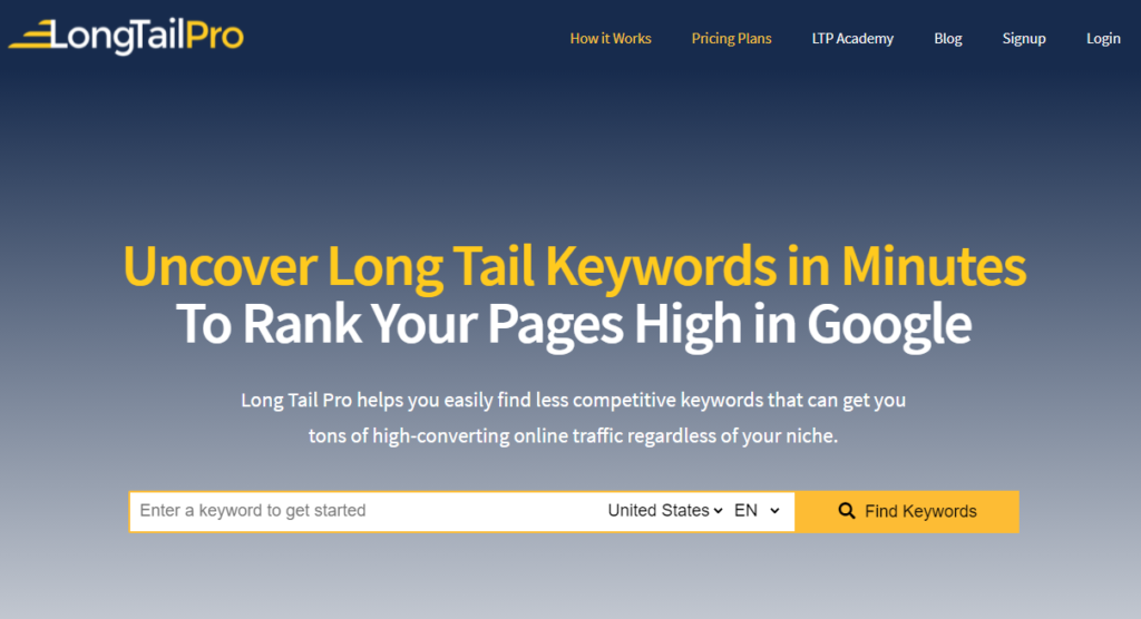 Long Tail Pro keyword research tools for dropshipping
