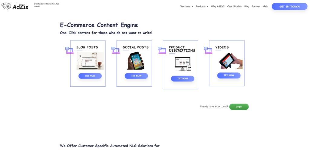AdZis ecommerce content writing tools