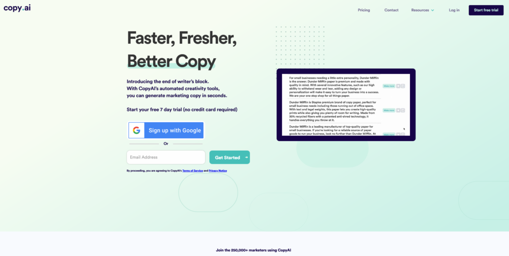 CopyAI copywriting tool