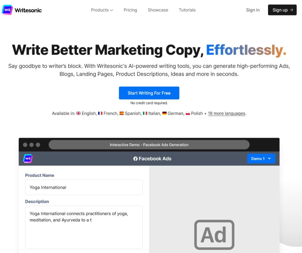 Writesonic ecommerce writing tool